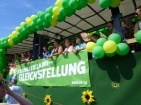 "The Green Party float, reading ""Favourite position: Equality"". It's a pun in German, but unfortunately it doesn't translate..."